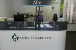 Family Eyecare Opticians reception desk, commercial interior design and refurbishment by Mewscraft