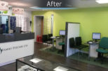 Family Eyecare Opticians reception , commercial interior design and refurbishment by Mewscraft