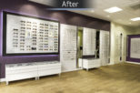 The Optical Studio Opticians retail space, after commercial interior design and refurbishment by Mewscraft