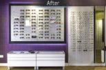 The Optical Studio Opticians frame display, after commercial interior design and refurbishment by Mewscraft