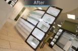 Arbuthnot Opticians LED frame display, after commercial interior design and refurbishment by Mewscraft