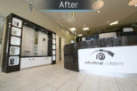 Arbuthnot Opticians reception, after commercial interior design and refurbishment by Mewscraft