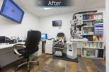 Healthy U Opticians consulting room, after commercial interior design and refurbishment by Mewscraft