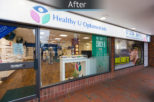 Healthy U Opticians shop front, after commercial interior design and refurbishment by Mewscraft