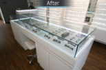 Coton & Hamblin Opticians bespoke dispensing desk, commercial Interior design and refurbishment by Mewscraft