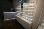 Coton & Hamblin Opticians LED shelving display, commercial Interior design and refurbishment by Mewscraft
