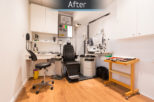Optico Opticians consulting room after commercial Interior design and refurbishment by Mewscraft