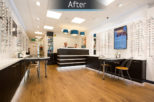 Optico Opticians retail area after commercial Interior design and refurbishment by Mewscraft