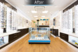 Optico Opticians after commercial Interior design and refurbishment by Mewscraft