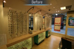 Optico Opticians before commercial Interior design and refurbishment by Mewscraft