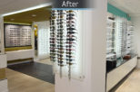 Houghton Opticians bespoke retail display after commercial Interior design and refurbishment by Mewscraft