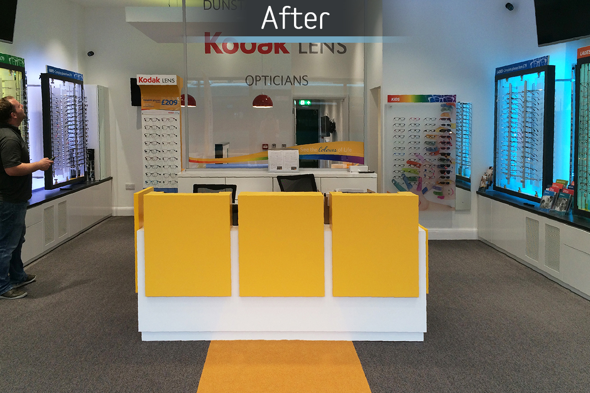 Dunstable Eye Centre  reception desk after commercial Interior design and refurbishment by Mewscraft