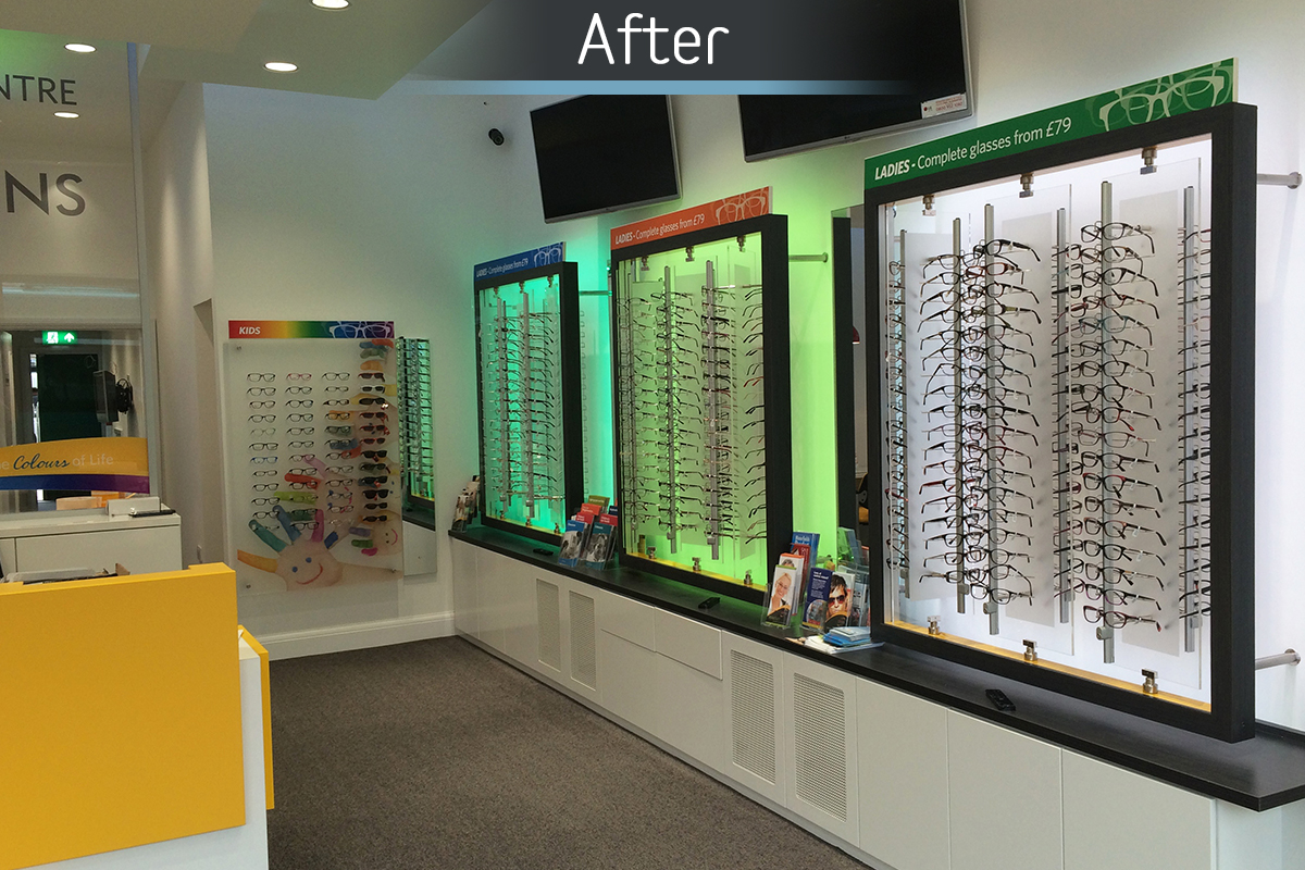 Dunstable Eye Centre LED retail displays after commercial Interior design and refurbishment by Mewscraft