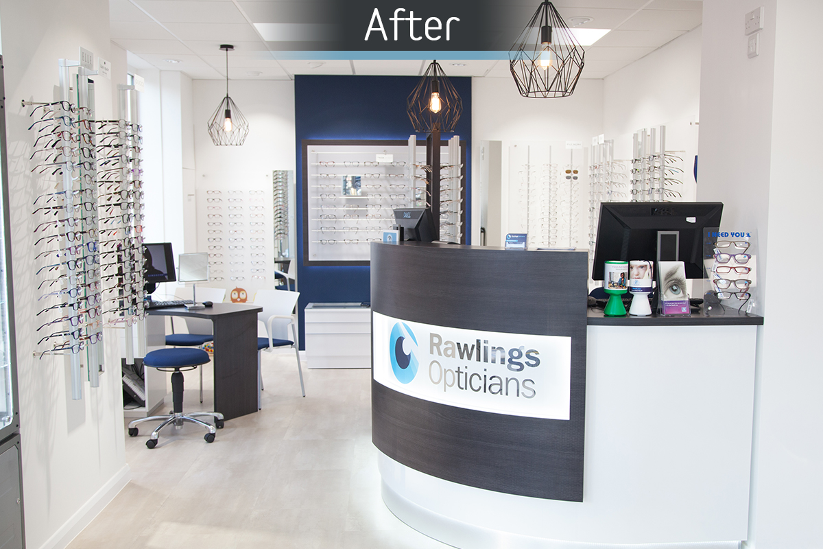 Rawlings Opticians after commercial Interior design and refurbishment by Mewscraft