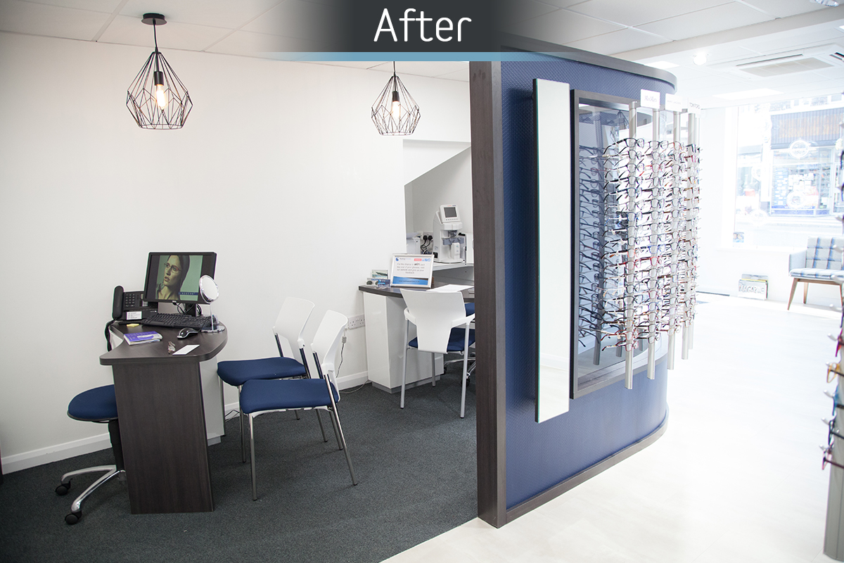 Rawlings Opticians dispensing area after commercial Interior design and refurbishment by Mewscraft