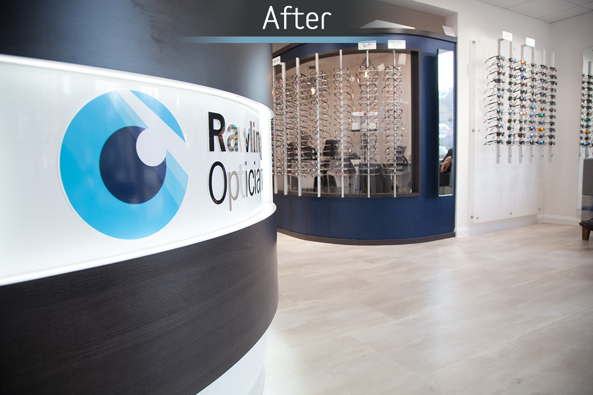 Rawlings Opticians reception after commercial Interior design and refurbishment by Mewscraft