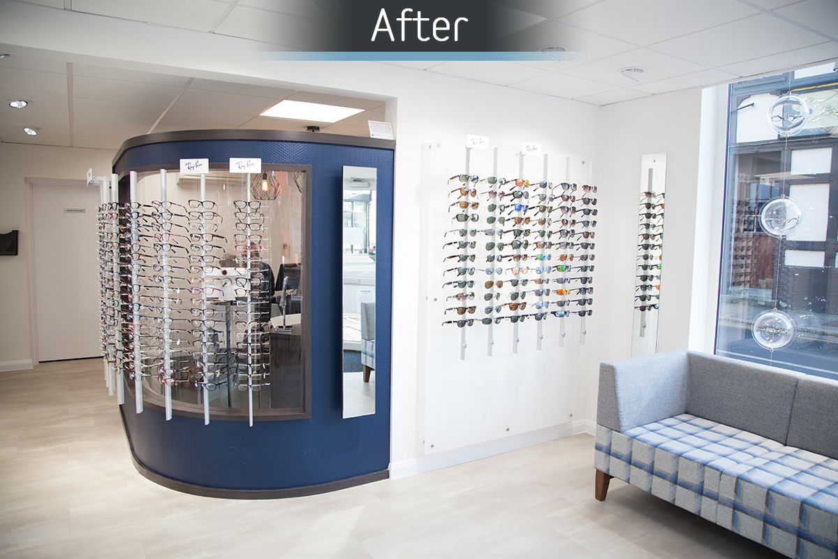 Rawlings Opticians retail display commercial Interior design and refurbishment by Mewscraft