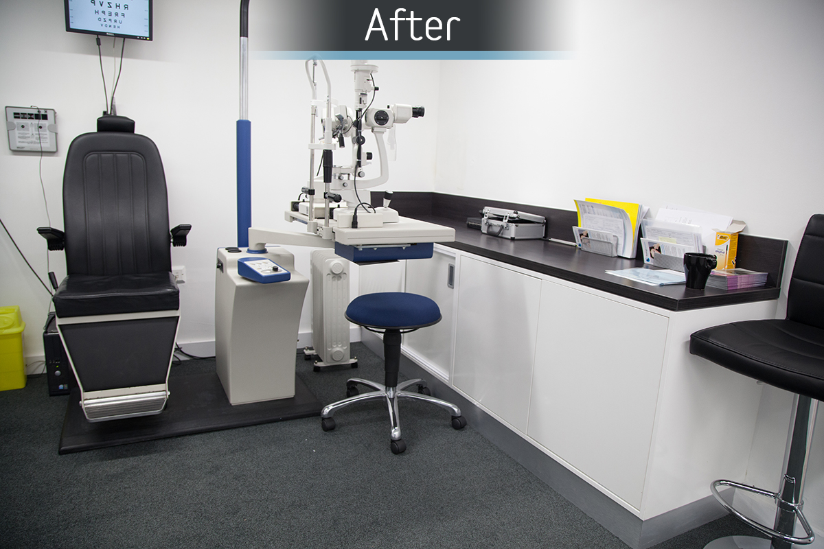 Rawlings Opticians consulting room after commercial Interior design and refurbishment by Mewscraft