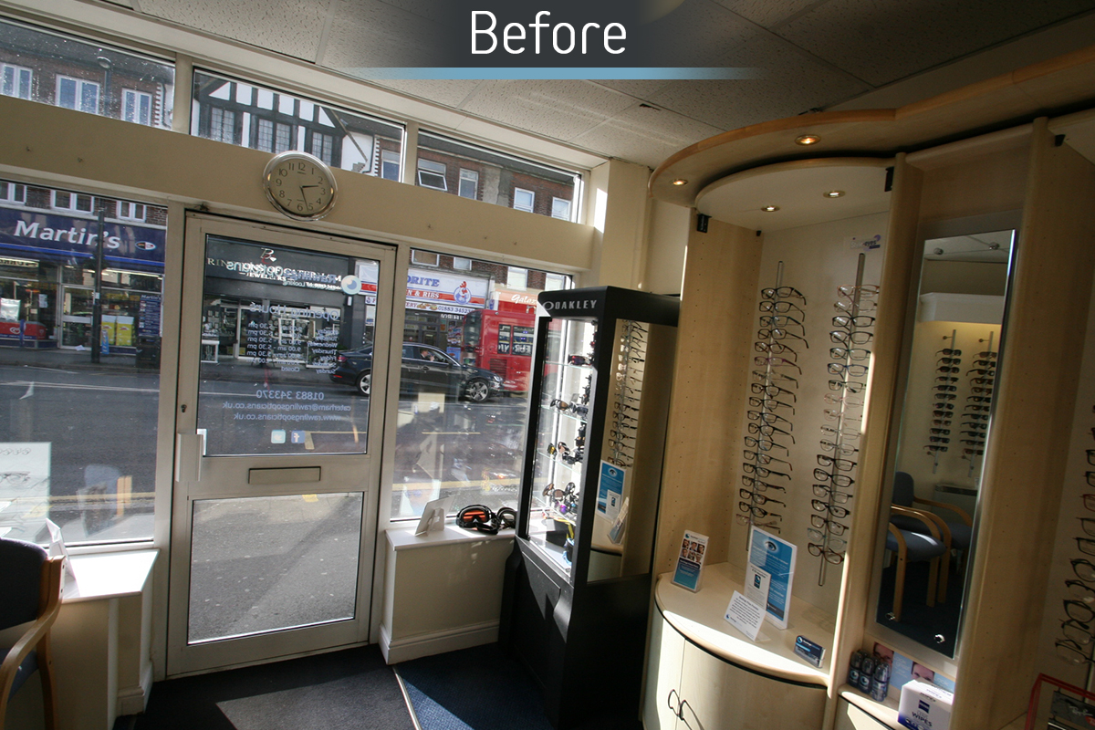 Rawlings Opticians before commercial Interior design and refurbishment by Mewscraft