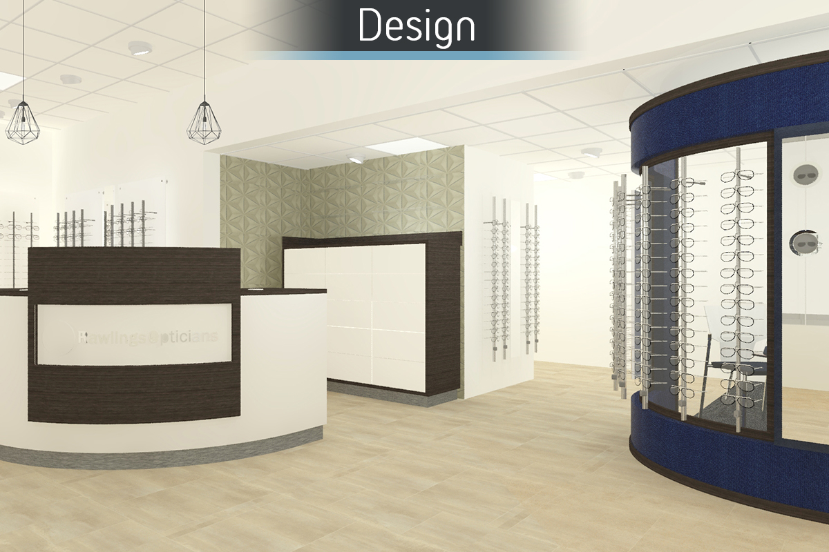 Rawlings Opticians 3D proposal for commercial Interior design and refurbishment by Mewscraft
