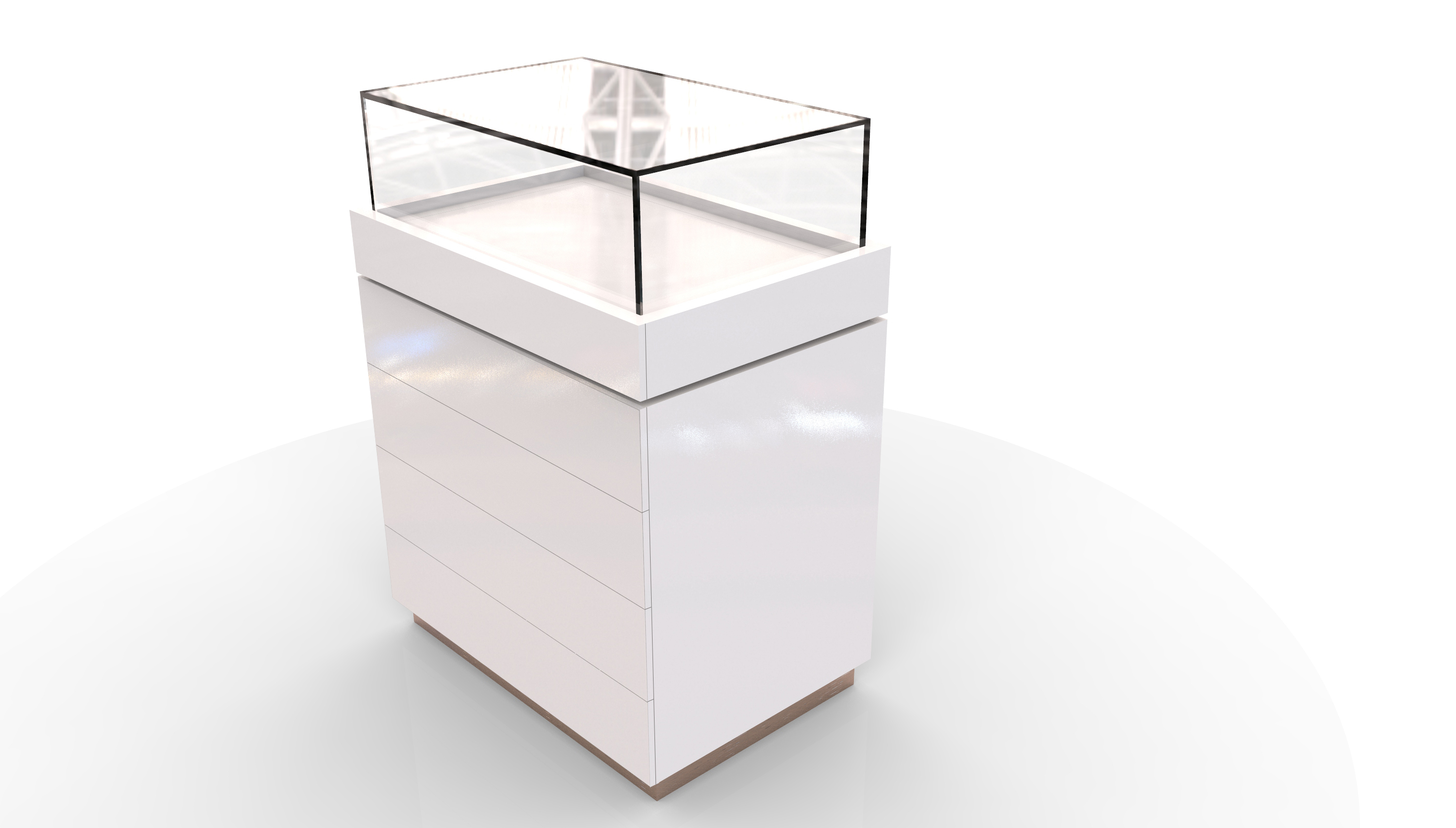 Eliza Glass Display Unit with Drawers 90/60