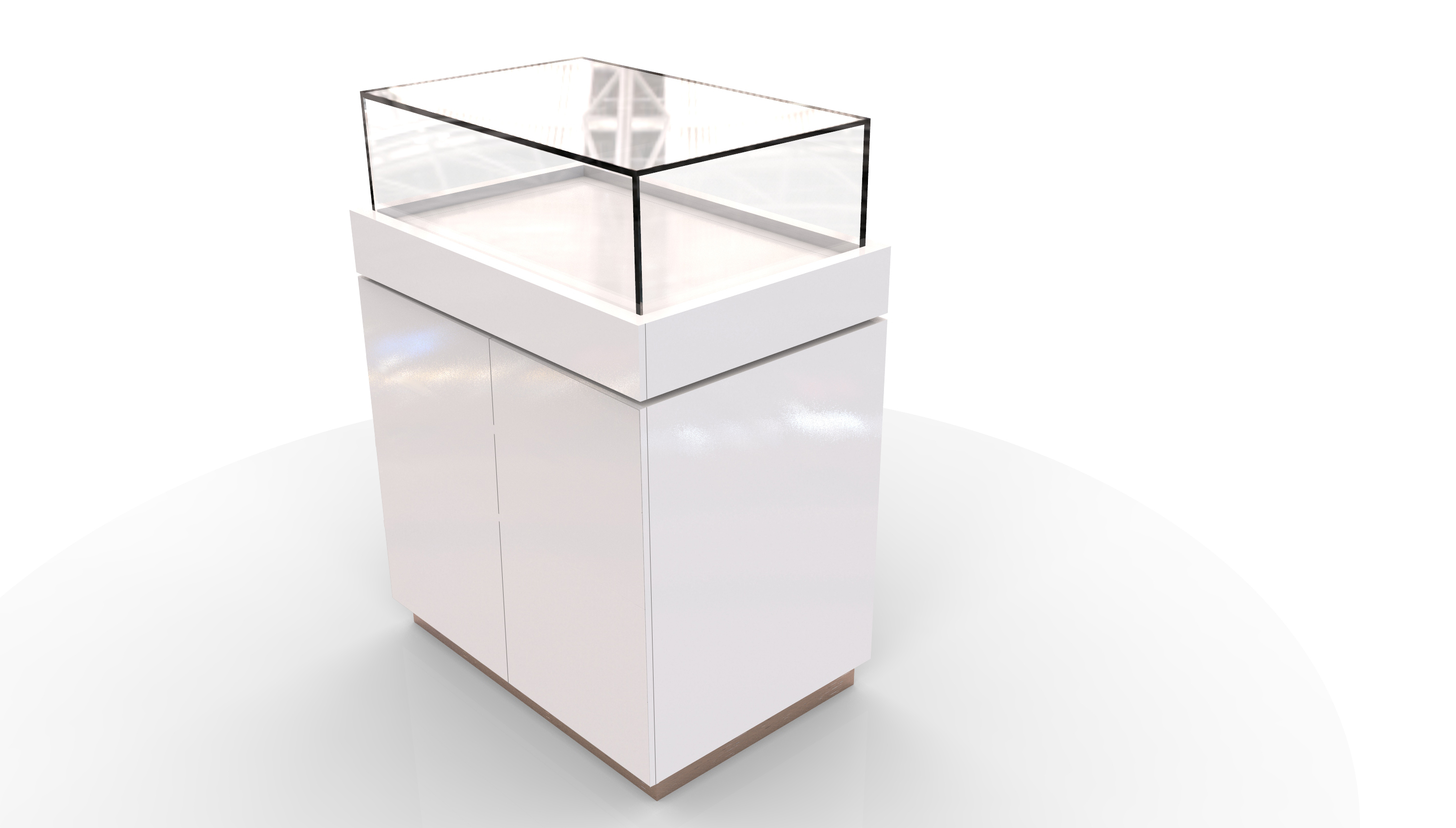 Eliza Glass Display Unit with Double Cupboard 90/60