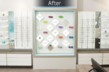 Eyewise Opticians retail display after commercial Interior design and refurbishment by Mewscraft