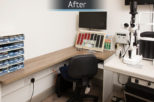 Eyewise Opticians consulting room after commercial Interior design and refurbishment by Mewscraft