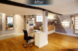 Redbourn Eyecare retail area after commercial Interior design and refurbishment by Mewscraft