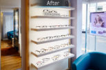 Redbourn Eyecare optical displays after commercial Interior design and refurbishment by Mewscraft