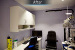 Redbourn Eyecare optical consulting room after commercial Interior design and refurbishment by Mewscraft