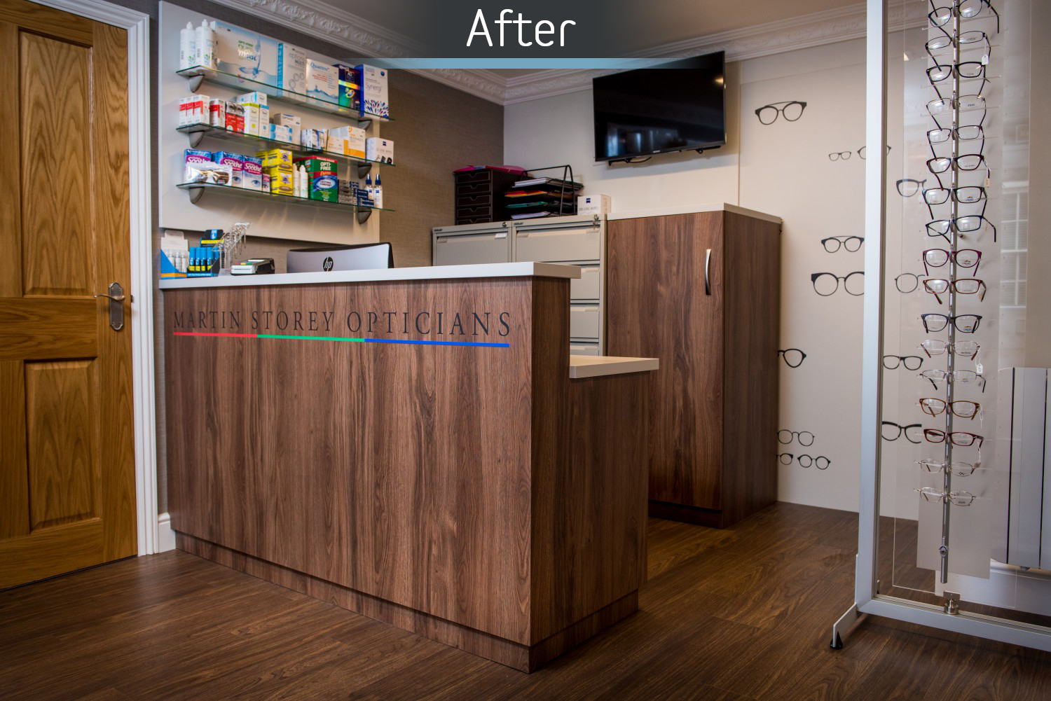 Martin Storey opticians reception area after commercial Interior design and refurbishment by Mewscraft