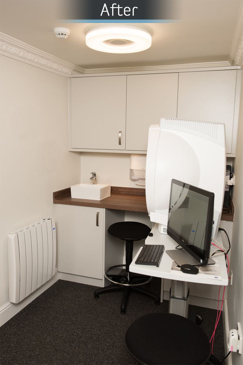 Martin Storey opticians pre-test room after commercial Interior design and refurbishment by Mewscraft