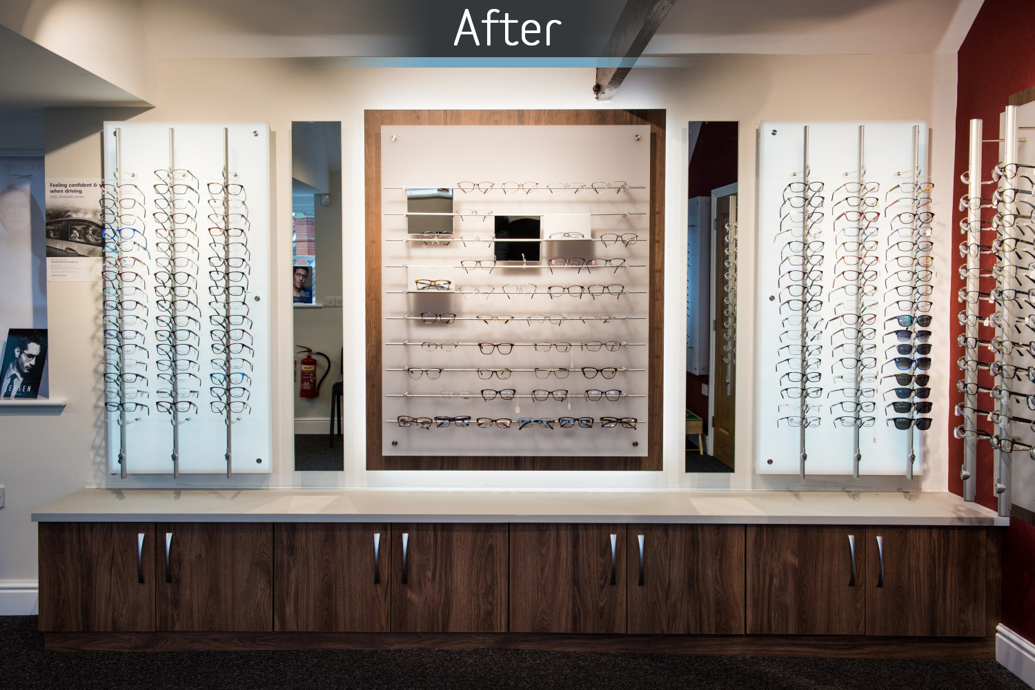 Martin Storey opticians retail display after commercial Interior design and refurbishment by Mewscraft