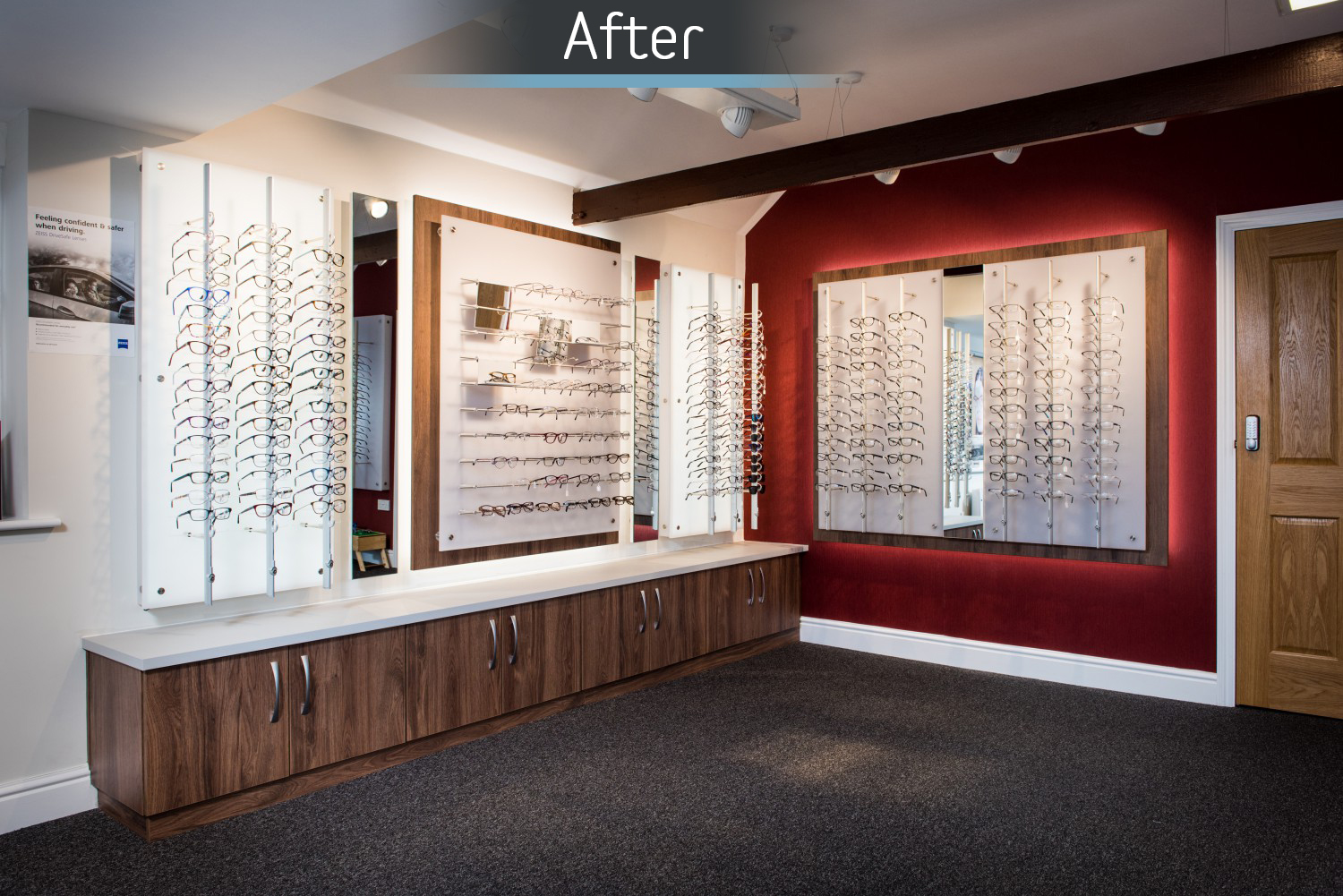 Martin Storey opticians after commercial Interior design and refurbishment by Mewscraft