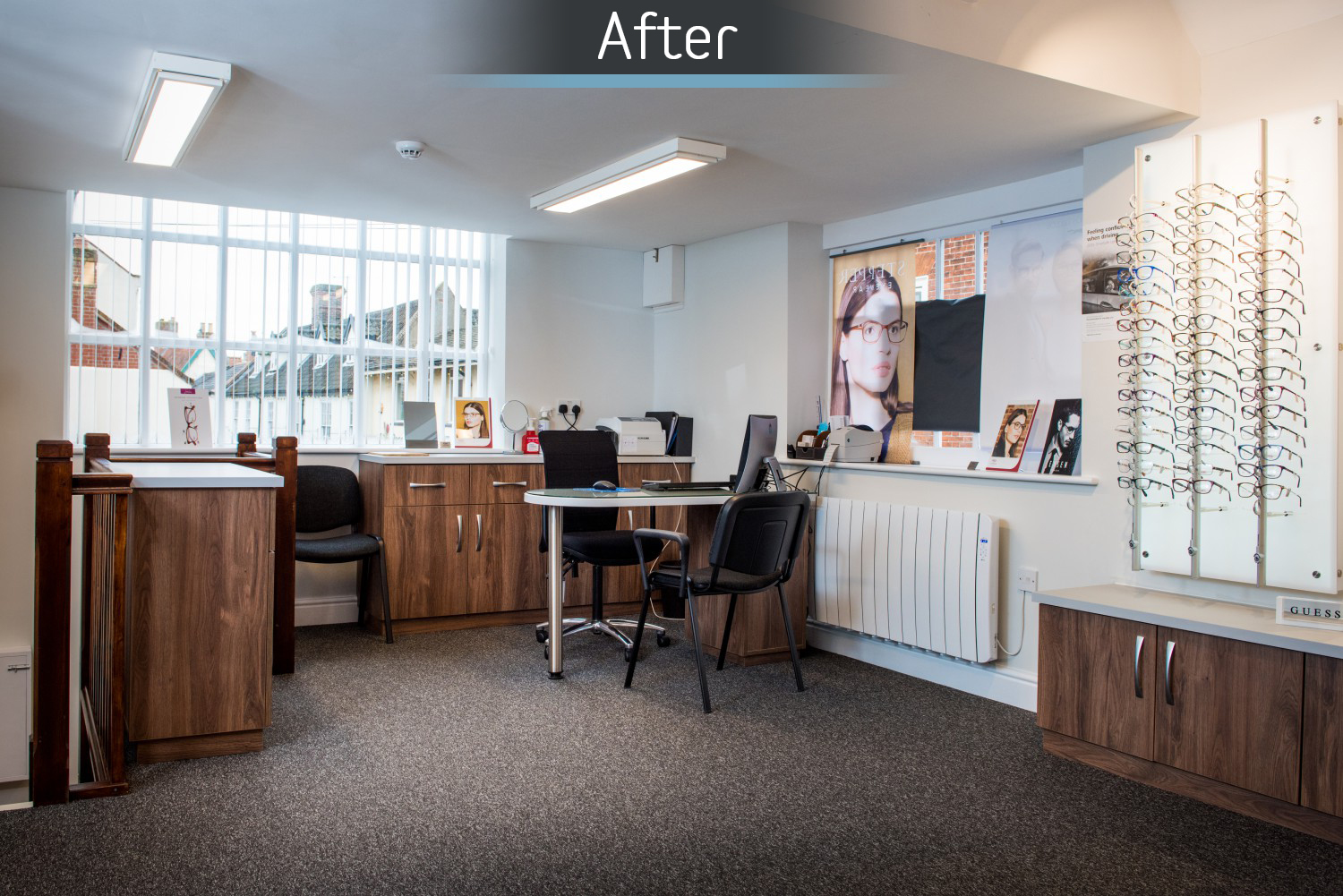Martin Storey opticians dispensing after commercial Interior design and refurbishment by Mewscraft