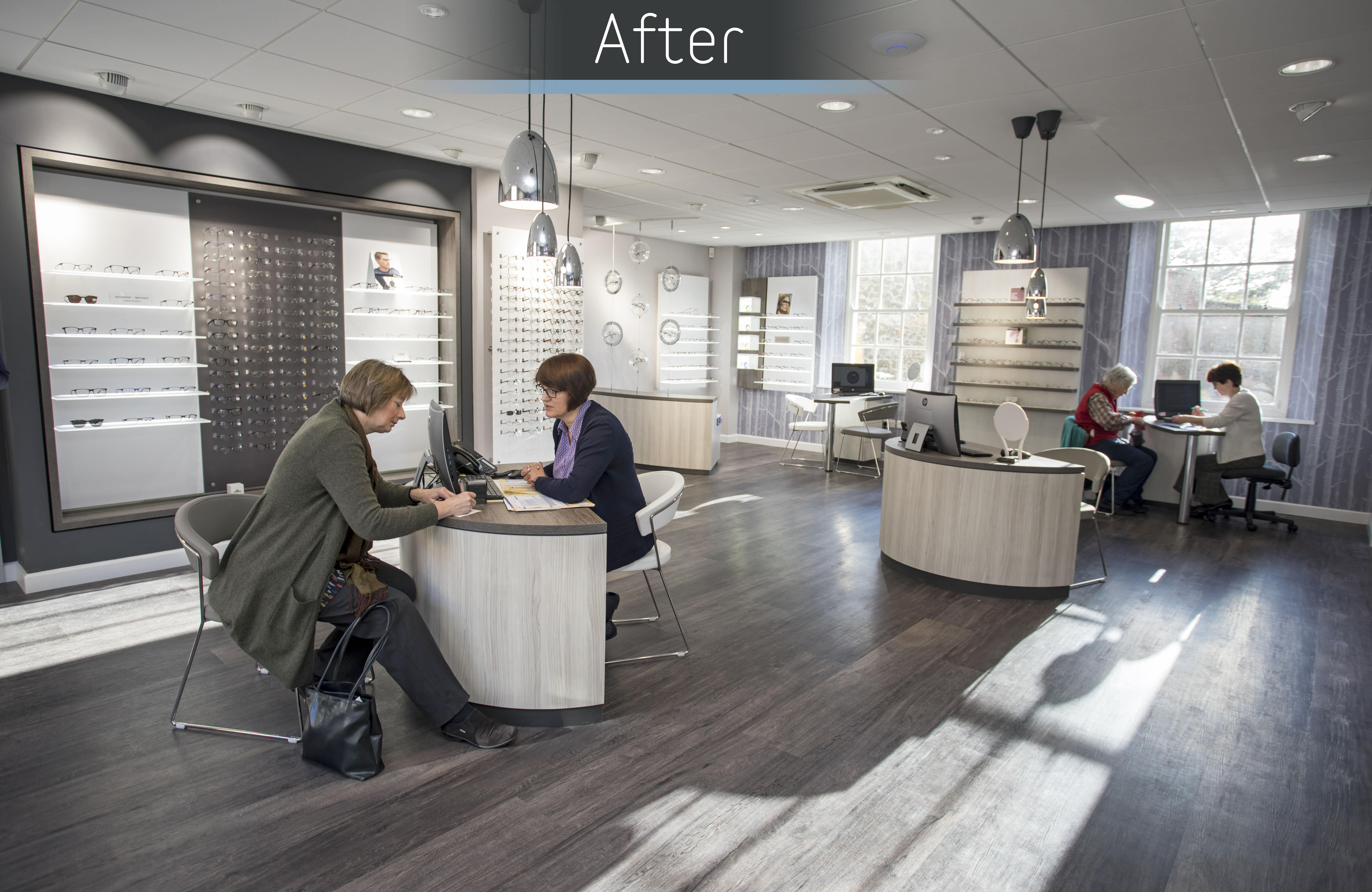 Mewscraft helps transform an old bank into a beautiful new home for opticians practice