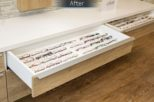 Harrold Opticians retail storage after commercial Interior design and refurbishment by Mewscraft