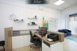 Bellamy Opticians reception desk after commercial Interior design and refurbishment by Mewscraft