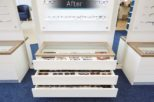 Bellamy Opticians display storage after commercial Interior design and refurbishment by Mewscraft