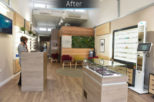 Dipple & Conway Opticians glass top retail display after commercial Interior design and refurbishment by Mewscraft