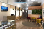 Dipple & Conway Opticians retail display after commercial Interior design and refurbishment by Mewscraft