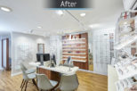 Linklaters Opticians dispensing area after commercial Interior design and refurbishment by Mewscraft