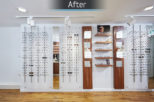 Linklaters Opticians retail display after commercial Interior design and refurbishment by Mewscraft