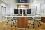 Linklaters Opticians dispensing desk after commercial Interior design and refurbishment by Mewscraft