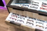 Abingdon Eye Centre Opticians storage display after commercial Interior design and refurbishment by Mewscraft