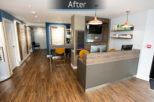 Davies and Lowry Opticians Reception after commercial Interior design and refurbishment by Mewscraft