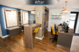 Davies and Lowry Opticians dispensing area after commercial Interior design and refurbishment by Mewscraft