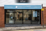 Davies and Lowry Opticians shop front after commercial Interior design and refurbishment by Mewscraft
