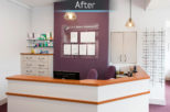 R.N. Roberts Opticians reception after commercial Interior design and refurbishment by Mewscraft